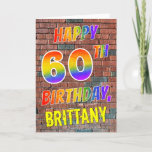 [ Thumbnail: Graffiti Inspired Rainbow Look Happy 60th Birthday Card ]