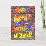 [ Thumbnail: Graffiti Inspired Rainbow Look Happy 61st Birthday Card ]