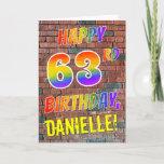 [ Thumbnail: Graffiti Inspired Rainbow Look Happy 63rd Birthday Card ]