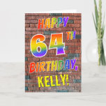 [ Thumbnail: Graffiti Inspired Rainbow Look Happy 64th Birthday Card ]