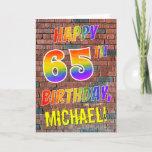 [ Thumbnail: Graffiti Inspired Rainbow Look Happy 65th Birthday Card ]