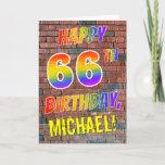 [ Thumbnail: Graffiti Inspired Rainbow Look Happy 66th Birthday Card ]