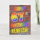 [ Thumbnail: Graffiti Inspired Rainbow Look Happy 67th Birthday Card ]