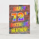 [ Thumbnail: Graffiti Inspired Rainbow Look Happy 72nd Birthday Card ]