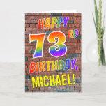 [ Thumbnail: Graffiti Inspired Rainbow Look Happy 73rd Birthday Card ]