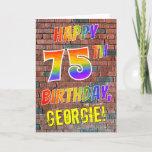[ Thumbnail: Graffiti Inspired Rainbow Look Happy 75th Birthday Card ]