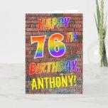 [ Thumbnail: Graffiti Inspired Rainbow Look Happy 76th Birthday Card ]