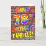 [ Thumbnail: Graffiti Inspired Rainbow Look Happy 78th Birthday Card ]