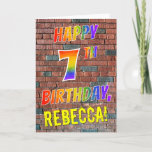 [ Thumbnail: Graffiti Inspired Rainbow Look Happy 7th Birthday Card ]