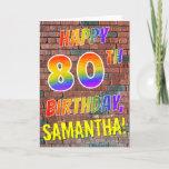 [ Thumbnail: Graffiti Inspired Rainbow Look Happy 80th Birthday Card ]