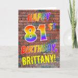 [ Thumbnail: Graffiti Inspired Rainbow Look Happy 81st Birthday Card ]