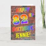 [ Thumbnail: Graffiti Inspired Rainbow Look Happy 82nd Birthday Card ]