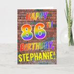 [ Thumbnail: Graffiti Inspired Rainbow Look Happy 86th Birthday Card ]