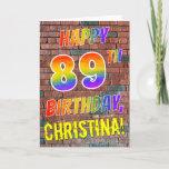 [ Thumbnail: Graffiti Inspired Rainbow Look Happy 89th Birthday Card ]