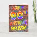 [ Thumbnail: Graffiti Inspired Rainbow Look Happy 90th Birthday Card ]