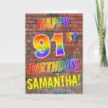 [ Thumbnail: Graffiti Inspired Rainbow Look Happy 91st Birthday Card ]