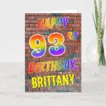 [ Thumbnail: Graffiti Inspired Rainbow Look Happy 93rd Birthday Card ]