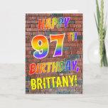 [ Thumbnail: Graffiti Inspired Rainbow Look Happy 97th Birthday Card ]