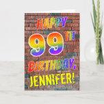 [ Thumbnail: Graffiti Inspired Rainbow Look Happy 99th Birthday Card ]