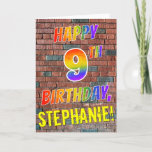 [ Thumbnail: Graffiti Inspired Rainbow Look Happy 9th Birthday Card ]