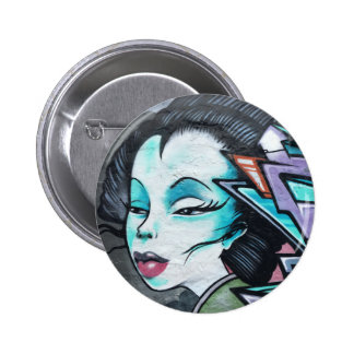 Graffiti lady pinback button