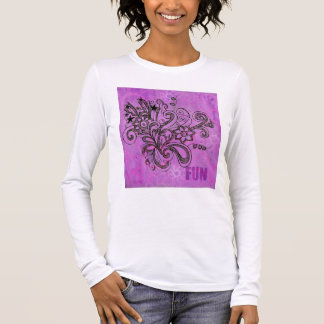 Graffiti Large Block Fun in Purple Long Sleeve T-Shirt