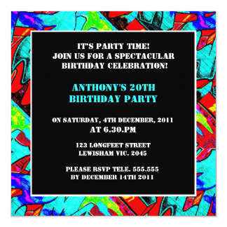 Graffiti Letters Birthday Invitation