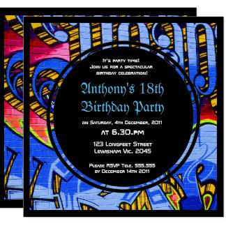 Graffiti Letters Blue Birthday Invitation