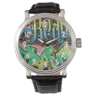 Graffiti Letters Vintage Leather Strap Watch