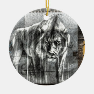 Graffiti Lion, Shoreditch London Double-Sided Ceramic Round Christmas Ornament