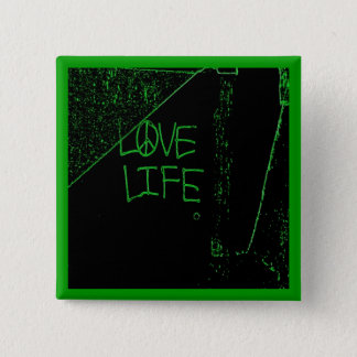 "Graffiti ""Love Life"" Neon Green Button"