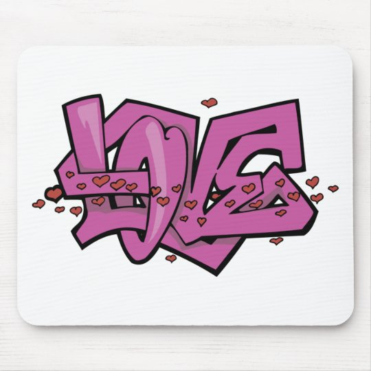 Graffiti love tag mouse pad