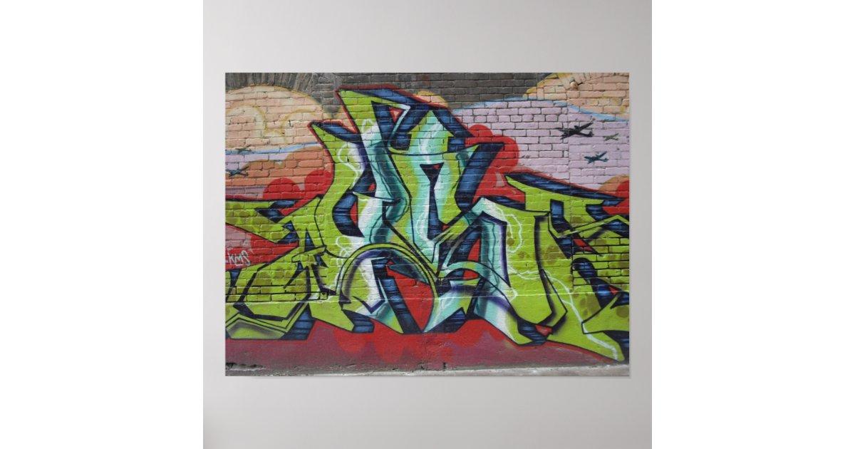 Graffiti mural poster zazzle for Poster mural 4 murs