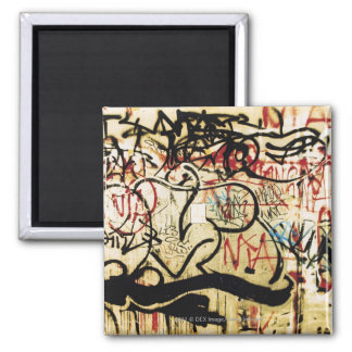 Graffiti on a wall 2 inch square magnet