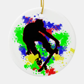 Graffiti Paint Splotches Skater Christmas Tree Ornament