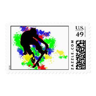 Graffiti Paint Splotches Skater Postage