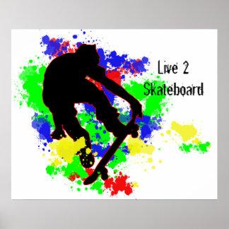 Graffiti Paint Splotches Skater Poster