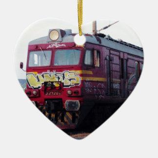 Graffiti Painted Train Ceramic Ornament