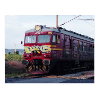 Graffiti Painted Train Postcard