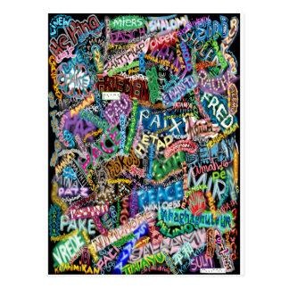 graffiti peace card post cards
