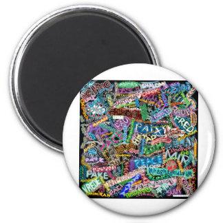 graffiti peace international translation 2 inch round magnet