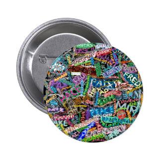 graffiti peace international translation 2 inch round button