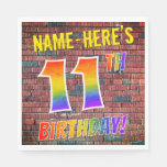 [ Thumbnail: Graffiti Rainbow Look 11th Birthday! + Custom Name Napkins ]