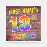[ Thumbnail: Graffiti Rainbow Look 13th Birthday! + Custom Name Napkins ]