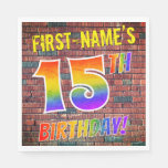 [ Thumbnail: Graffiti Rainbow Look 15th Birthday! + Custom Name Napkins ]