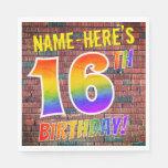 [ Thumbnail: Graffiti Rainbow Look 16th Birthday! + Custom Name Napkins ]