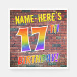 [ Thumbnail: Graffiti Rainbow Look 17th Birthday! + Custom Name Napkins ]