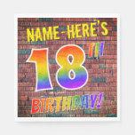 [ Thumbnail: Graffiti Rainbow Look 18th Birthday! + Custom Name Napkins ]