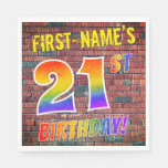 [ Thumbnail: Graffiti Rainbow Look 21st Birthday! + Custom Name Napkins ]