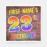 [ Thumbnail: Graffiti Rainbow Look 23rd Birthday! + Custom Name Napkins ]